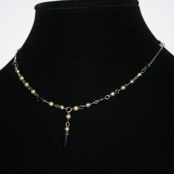 """Beautiful silver and gold beaded necklace 16"""""""